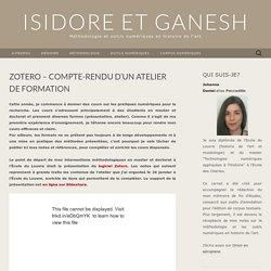 Zotero - Compte-rendu d'un atelier de formation – Isidore et Ganesh