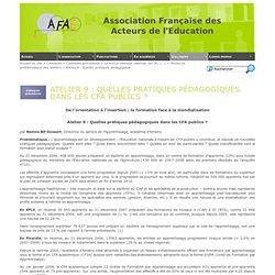 Atelier 9 : Quelles pratiques pédagogiques dans les CFA publics ?