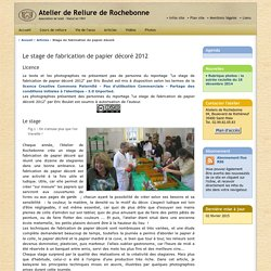 Atelier de reliure de Rochebonne - Article - Stage de fabrication de papier décoré