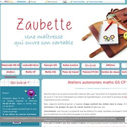 Ateliers autonomes maths GS CP CE1