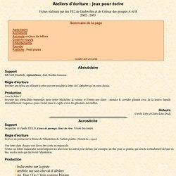 Ateliers d'écriture : jeux pour écrire