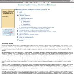 Manual de la Atención de Salud Mental para Víctimas de Desastres: 1 Desastres y salud mental: Definición de desastre