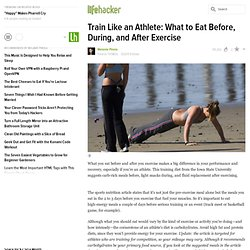 Train Like an Athlete: What to Eat Before, During, and After Exercise - Lifehacker