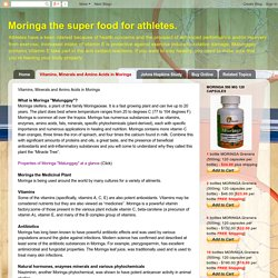 Moringa the super food for athletes. : Vitamins, Minerals and Amino Acids in Moringa