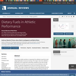 Dietary Fuels in Athletic Performance