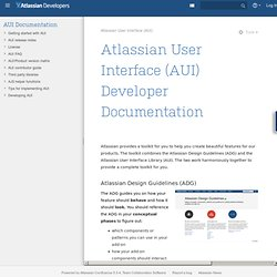 User Interface (AUI) Developer Documentation - Atlassian User Interface (AUI)