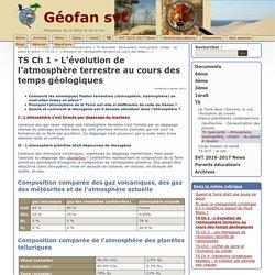 TS Ch 1 - L'évolution de l'atmosphère terrestre au cours des temps géologiques - Géofan svt