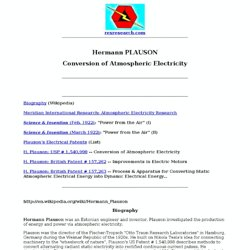 Hermann Plauson: Conversion of Atmospheric Electricity (Articles & patents)