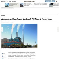Atmospheric Greenhouse Gas Levels Hit Record, Report Says