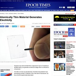 Atomically Thin Material Generates Electricity - The Epoch Times