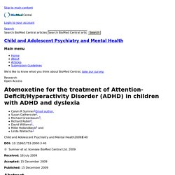 Atomoxetine for the treatment of Attention-Deficit/Hyperactivity Disorder (ADHD) in children with ADHD and dyslexia