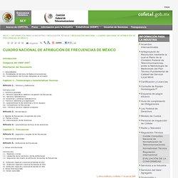 COFETEL/Cuadro Nacional de Atribución de Frecuencias de México