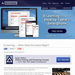 E-Learning … When Does the Lesson Begin?