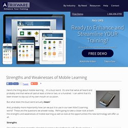 Strengths and Weaknesses of Mobile Learning