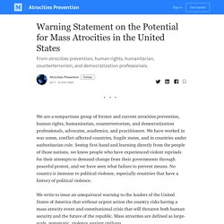Warning Statement on the Potential for Mass Atrocities in the United States