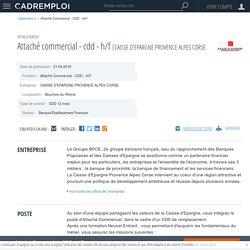 Emploi Attaché Commercial - CDD - H/F - Bouches-du-Rhône sur CADREMPLOI.fr