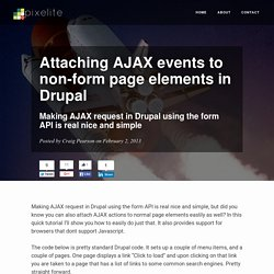 Attaching AJAX events to non-form page elements in Drupal - Pixelite