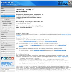 Learning theory of attachment for A level psychology - Psychteacher