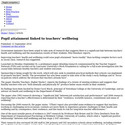Pupil attainment linked to teachers' wellbeing