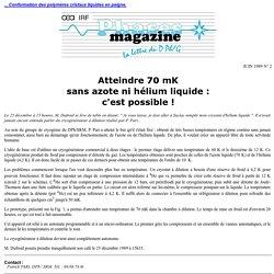 Atteindre 70 mK sans azote ni hélium liquide