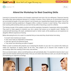 Attend the Workshop for Best Coaching Skills