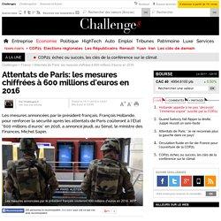 Attentats de Paris: les mesures chiffrées à 600 millions d'euros en 2016
