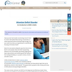 Attention Deficit Disorder (ADD and ADHD) - Psych Central
