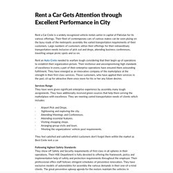 Rent a Car Gets Attention through Excellent Performance in City