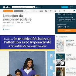 TDAH - Guide à l'attention du personnel scolaire