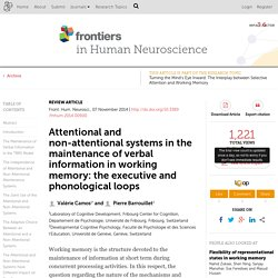 Attentional and non-attentional systems in the maintenance of verbal information in working memory: the executive and phonological loops