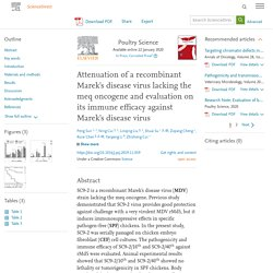 Poultry Science Available online 22 January 2020 Attenuation of a recombinant Marek's disease virus lacking the meq oncogene and evaluation on its immune efficacy against Marek's disease virus