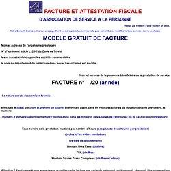 FACTURE ET ATTESTATION FISCALE D'ASSOCIATION DE SERVICE A LA PERSONNE