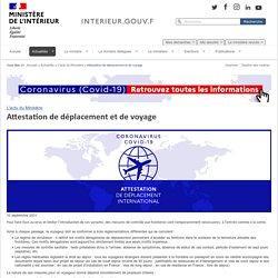 Attestation de déplacement et de voyage / L'actu du Ministère / Actualités