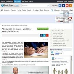Attestation d'emploi - Modèle et exemple de lettre
