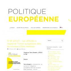 N°38 2012/3 – Les attitudes à l'égard de l'Union européenne dans les nouveaux États membres