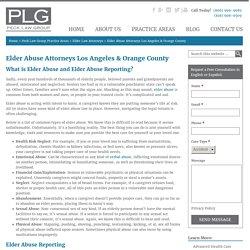 Elder Abuse Attorneys Los Angeles & Orange County