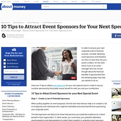 10 Tips to Attract Event Sponsors for Your Next Special Event