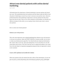 Attract new dental patients with online dental marketing