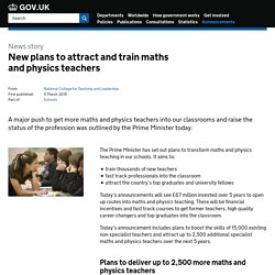 New plans to attract and train maths and physics teachers