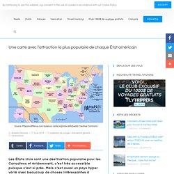Une carte avec l'attraction la plus populaire de chaque État américain