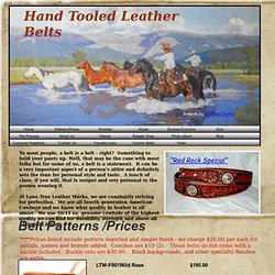 Handmade Western leather belt patterns. Lone Tree Leather Works creates their own unique floral and geometric belt patterns for distinct and highly attractive appearance. Our Cowboy Classic pattern is our most popular closely followed by the Western Mix,