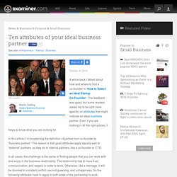 Ten attributes of your ideal business partner - National Startup Business