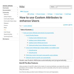 How to use Custom Attributes to enhance Users