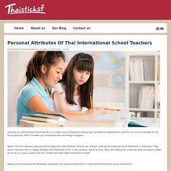 Personal Attributes Of Thai International School Teachers