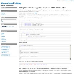 Kiran Chand's Blog : Adding html attributes support for Templates - ASP.Net MVC 2.0 Beta