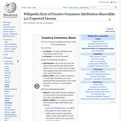 Text of Creative Commons Attribution-ShareAlike 3.0 Unported License