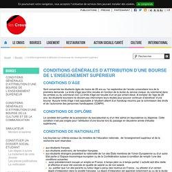 Conditions générales d'attribution d'une bourse de l'enseignement supérieur Cnous