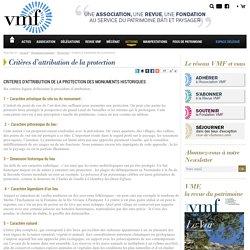 Critères d'attribution de protection des monuments historiques - VMF