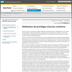 Attribution de privilèges d'accès conforme - SAP GRC Access Control - SAP Library
