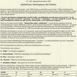 Attributions Astrologiques des Plantes